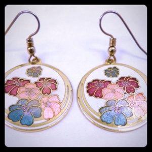 Enamel Dangle Earrings w/ Floral Design
